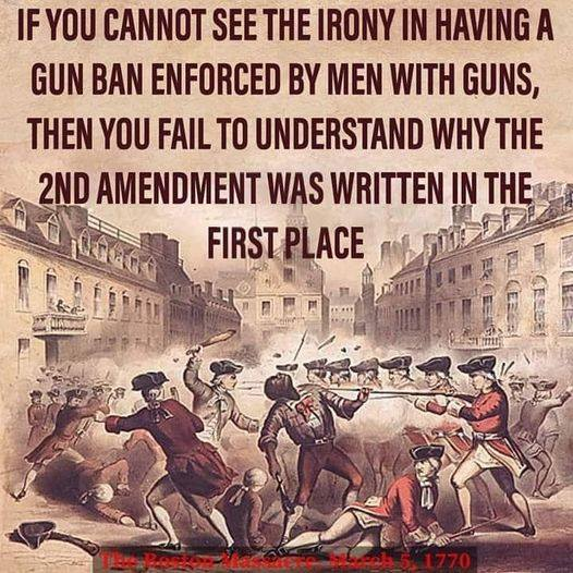 Irony of gun ban enforced by men with guns