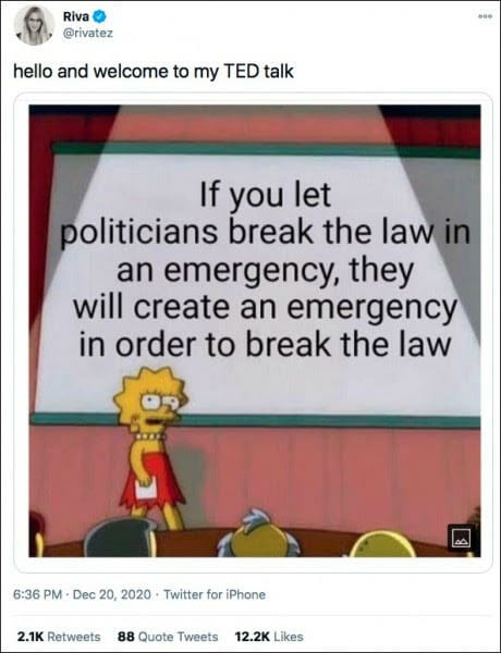 If you let politicians break the law in an emergency, they will create an emergency in order to break the law
